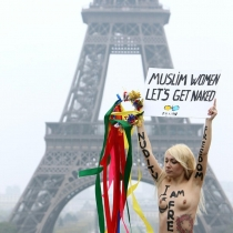 Femen Eiffel Tower One Girl